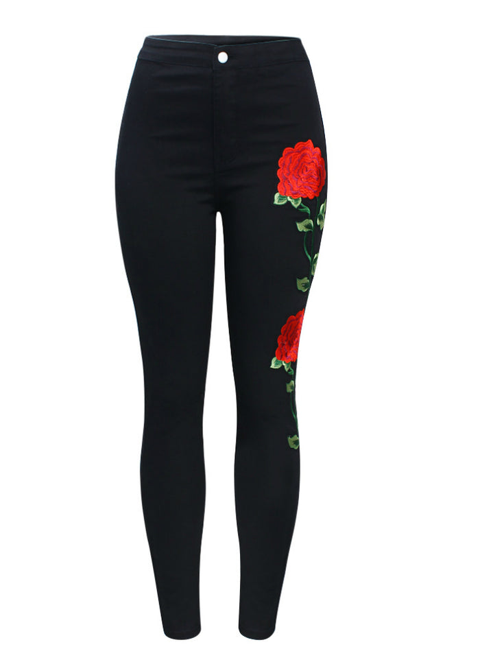 High Waist Black Embroidery Jeans Without Ripped