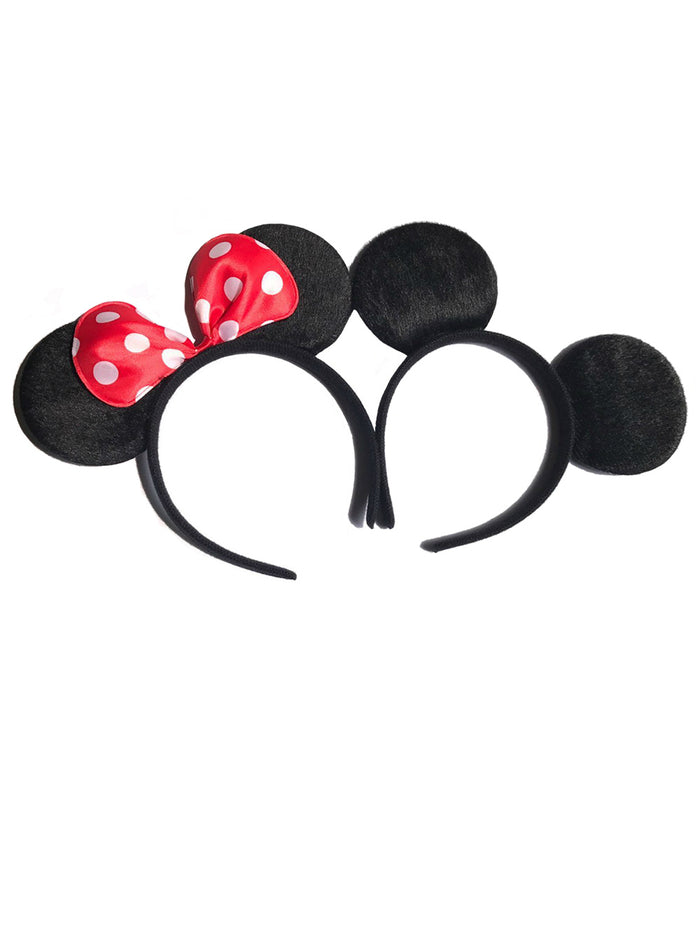 12pcs Minnie/Mickey Ears Solid Black & Red Bow