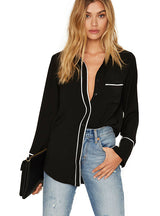 Solid Black Single Breasted Straight Shirt Long Sleeve