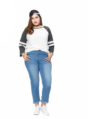 Top Tees O-Neck Long Sleeve Big Size T-shirt