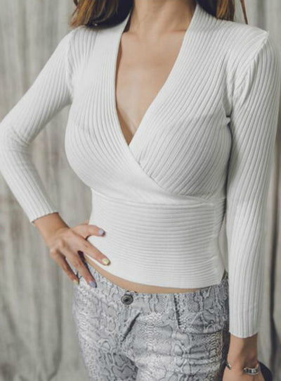Sexy Winter Knitted Sweater V Neck Cashmere Sweater