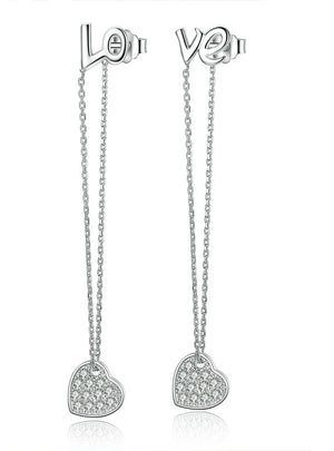 925 Sterling Silver LOVE Long Earrings Heart