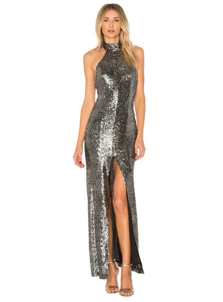 Silver Sequined Party Dresses Halter Split Side