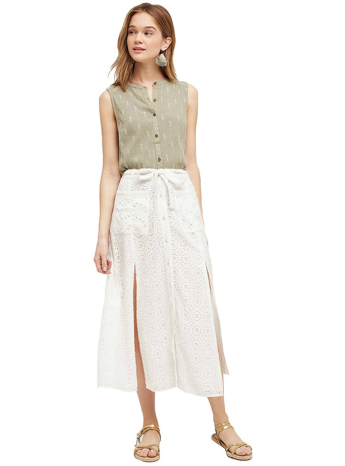 High Waist Split Front A-line Loose Casual Skirt