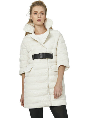 Women's Down Jacket Fashion Belt White Mesh