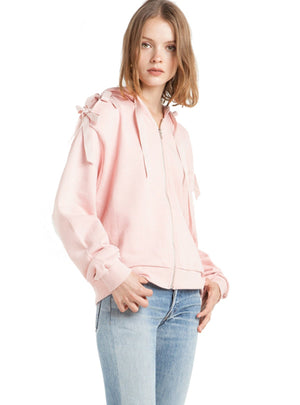 Women's Pink Ribbon Tie Back Sweatshirt Zipper Front