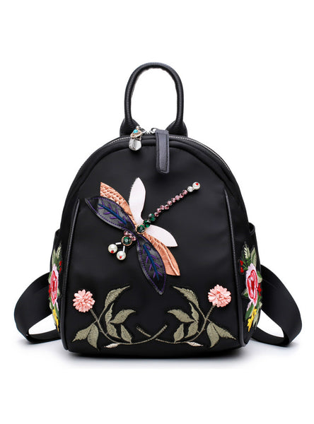 Flower Embroidery Rhinestone 3D Dragonfly Shoulder Bag