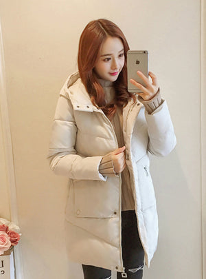 Women jacket Casual Solid Thick Warm Long Hooded