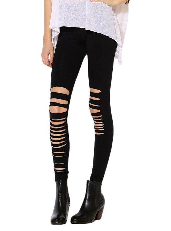 Solid Black Leggings Women Hollow Out