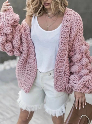 Lantern Sleeve Cardigan Open Front Sweater Coat