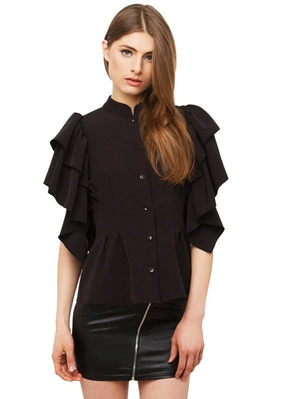 Women Shirt Tops Black Buttons Slim Chiffon