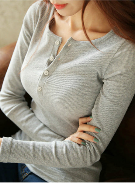 Women's Button Thread Solid Color Long Sleeve T shirt