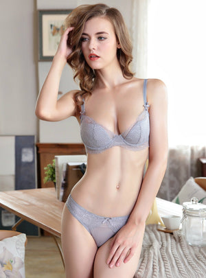Sexy Women Lace Underwear Bra Set Thin