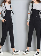 Strap Ripped Pockets Ankle Length Jeans Jumpsuits