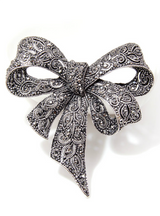 Rhinestone Bow for Women Black Bowknot Brooch