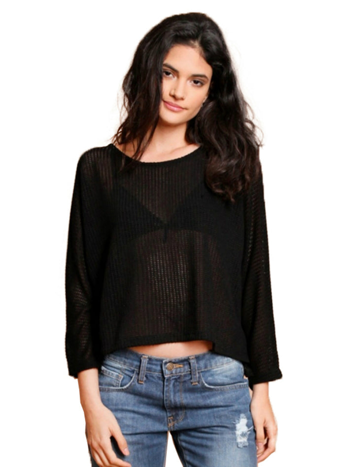 Sweater Women Casual Full Sleeve Solid Black O-neck
