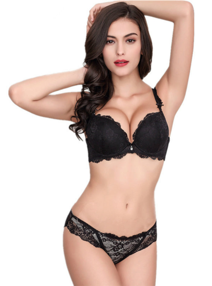 Sexy Lace Bra Set Gather Adjustable Underwear