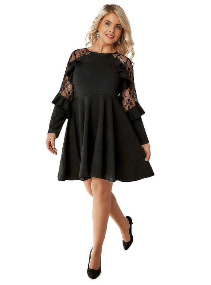 Lace Ruffle Straight Female Dress Solid Black Sexy