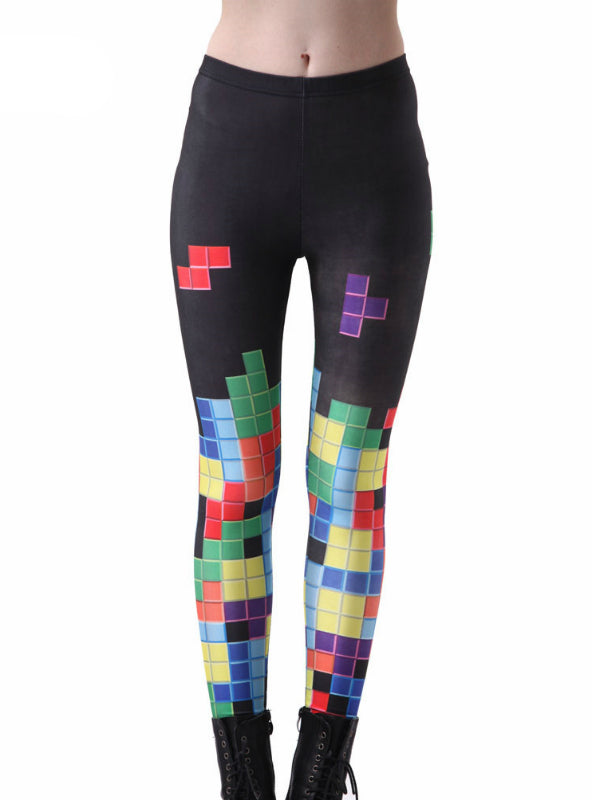 Colorful Tetris Digital Printing Elasticity Pants Elastic