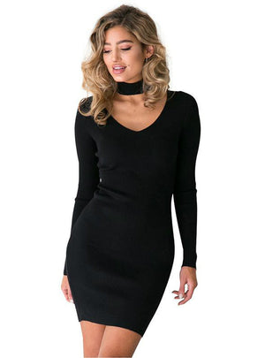 Long Sleeve Sexy Short Pencil Knitted Sweater Dresses