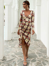 Printed V-neck Slim Irregular Long Sleeve Dress