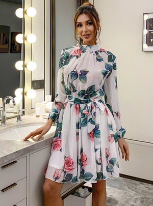 Floral Round Neck Floral Skirt Long Sleeve Chiffon Dress