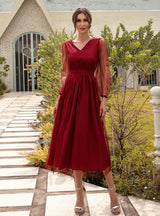 Red Bubble Sleeve Perspective Dress Female