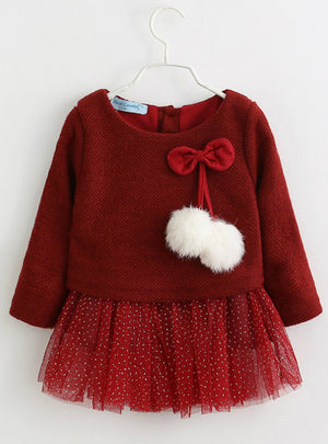 Baby Clothe Long Sleeve Fake 2 Piece Party Dress