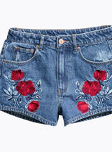 Block Short Jeans Flower Embroidery Pockets Denim