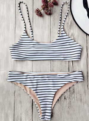 Striped Cami Bralette Bikini Set Sexy Low Waisted
