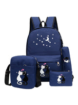 4Pcs/set Backpack Rucksack Cut School Bags