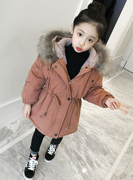 Girl's Long Cotton-Padded Down Jacket