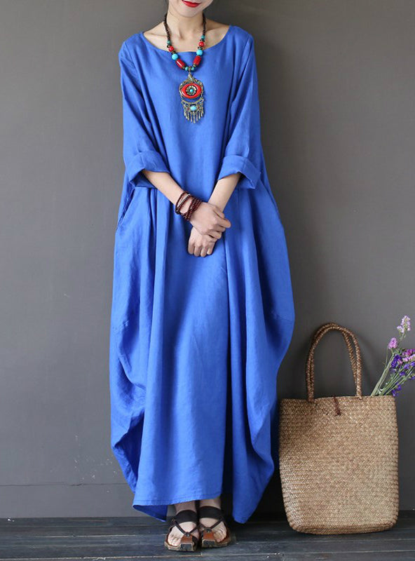 3/4 Batwing Sleeve Baggy Maxi Long Shirt Dress