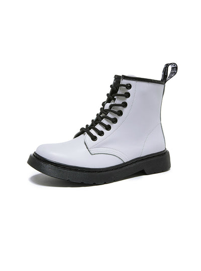 Women White Ankle Boots Motorcycle Boots
