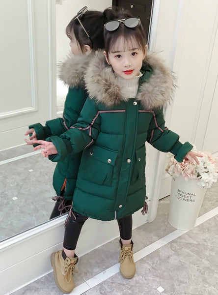 Girls' Cotton Padded Coats Middle Long Jacket
