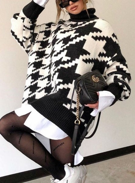 Winter Oversized Sweater Dress Women Turtleneck