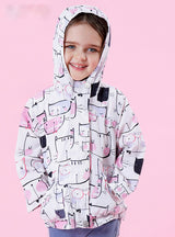 Cartoon Cat Outerwear Hooded Kids Clothes