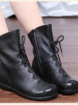 Leather Women Boots Flat Booties Soft Cowhide