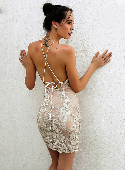 Halter Backless Halter Sequins Dresses Party Dress