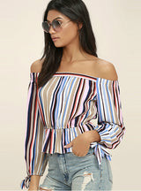 Long Sleeve Off Shoulder Female Tops Blouses Shirts