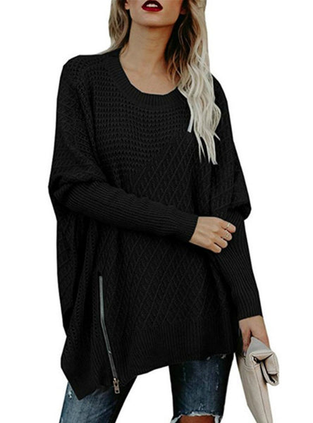 Zipped Bat Sleeve Shoulder Exposed Sweater
