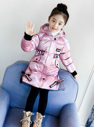 Pink Thickened Medium Long Cotton-Padded Jacket