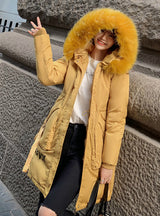 Long Letter Print Parkas Coat Double Warm Big Fur