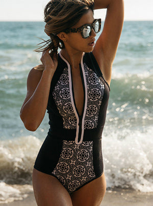 One Piece Swimwear Women Swimsuit Zipper Suit