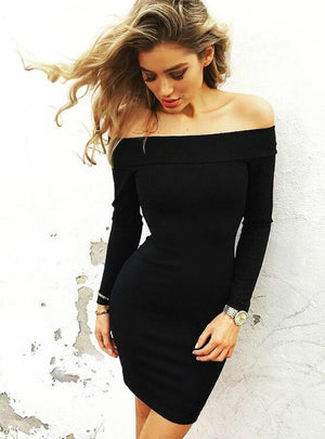 Long Sleeve Mini Dress Slim Nightclub Dress