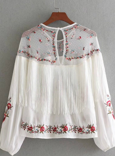 Embroidery Patchwork Blouse Tassel Decoration Shirt
