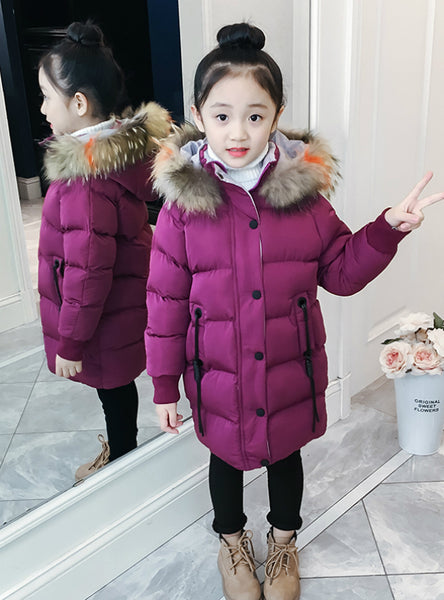 Long Cotton-Padded Jacket Girl's Coat Thickened