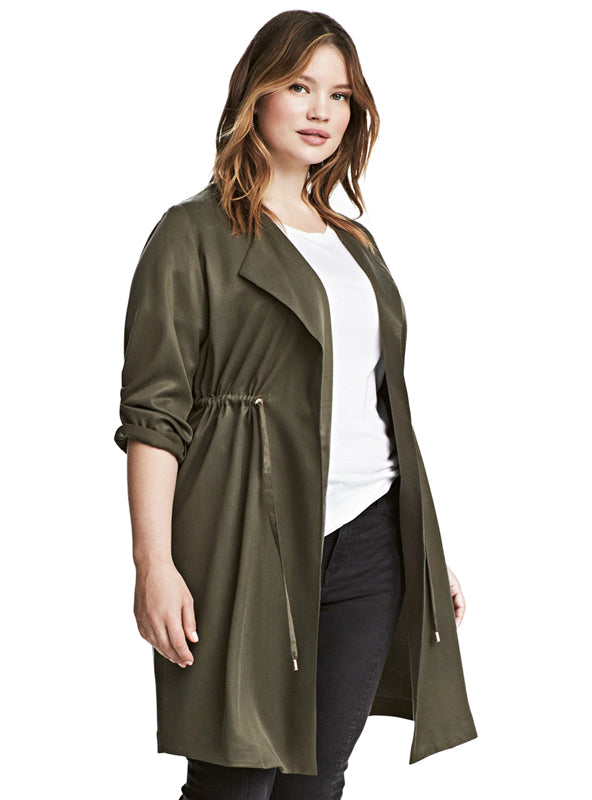Turn-down Collar Open Stitch Coats Female Lady