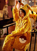 Thick Warm Coral Fleece Two-piece Suit Yellow Pikachu