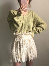 Low V-Neck Knit Tops Long Sleeve Hollow Out Cardigan